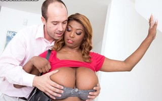 Ebony with huge naturals Rachel Raxxx gets picked up and fucked