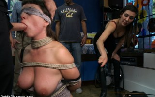Midwestern pro domme is tied up and fucked in the ass in public! Oh the shame!