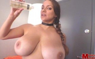Monica Mendez in Her Halloween Costume Strips and Teased