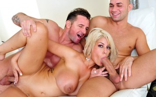 Blonde with extra huge boobs bounces on two cocks today!