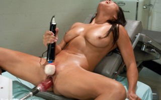 Sexy smoking hot Asian babe machine fucked into a sweaty, breathless mess!