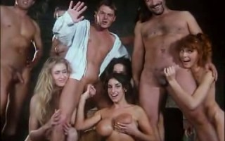 Busty Sarah Young in retro orgy