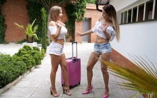 Hot European babes Emily Bright & Josephine Jackson lick each other