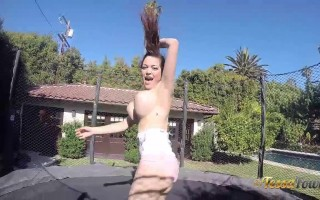 Big boobie Tessa fun trampoline day
