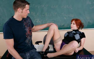 Brittany O'Connell is a hot teacher and she decides to fuck one of her students on her desk.