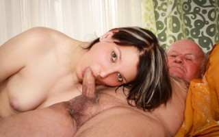 College creampie brunette sucks and fucks old grandpa's cock