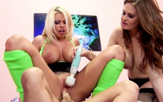 Britney and Alison get their pussies pound and tits bouncing