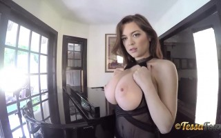 Tessa Big Boobs Goes Out in Her Black Sheer Lingerie