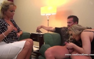 A sexy threesome with Amber Lynn Bach, Peter and their girlfriend.
