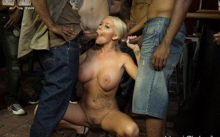 Busty blonde Rachele Richey sucks and deepthroats black cocks