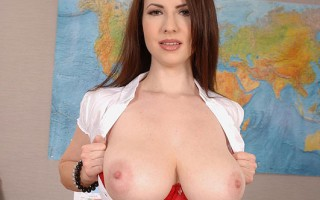 Sexy Teacher Karina Heart Teases With Her 34H Tits & Nipples