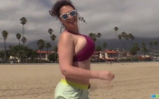 Lana Kendrick road trip fun playing with her big titties on dashcam