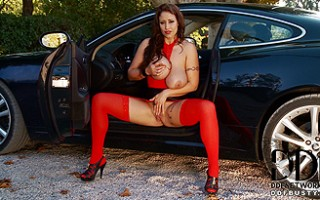 Eva Notty Getting Naughty With Her 34J's Atop a Jaguar HK