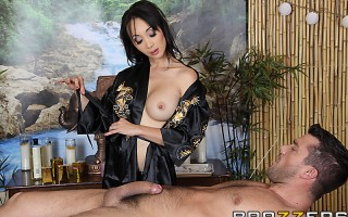 Ramon is seeing Dr. Katsuni to relieve some tension in his body. Her professional acupuncture skills are incredible, but when she hits a special spot in his back and makes his Chi flow into his hard cock, she has no option but to release it on the spot.