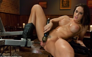Chanel Preston\'s perfect pussy vs. Fuckzilla\'s robot cock in an orgasmic dual. She thrusts, grinds and cums on the robot and her custom cock saddle.