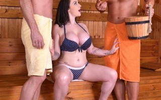 British Babes Titty Fuck Doggy Style Sauna Threesome