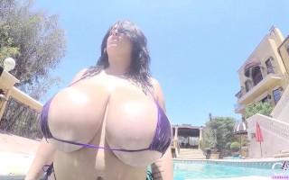 Leanne under the sun with her very tiny bikini top