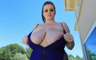 Maria Body Outdoor Tease With Her 32jj Big Juicy Twins