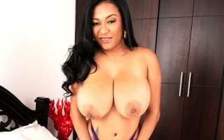 All natural Latina Shanie Gaviria in purple lingerie