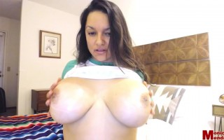 Monica Mendez Slides Up Her Lucky Green Shirt to Show Her Big Melons