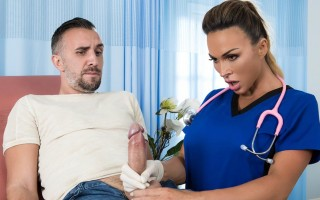 "Big boobed doctor Aubrey Black helps patient with ""backed-up� problem"