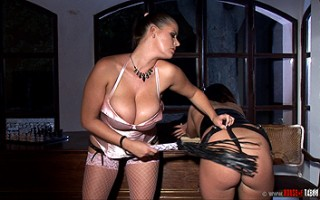 Wild foot fetish sex of busty babes with spanking & bondage