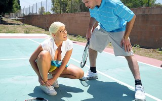 Britney loves a little healthy competition. Britney also has a healthy set of jumbo knockers. When Charles meets up with her for a match, Britney is in way over her head. Not only is he a better tennis player, but she risks being flopped out of the league