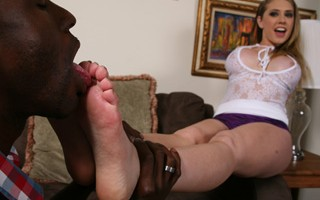 My feet need, no they demand the feeling of a huge black cock in between them. BlacksOnBlondes.com turned me into a black cock slut and it's been only black men for me since then. Obviously my pussy has been sore from all that black cock inhalation my hon