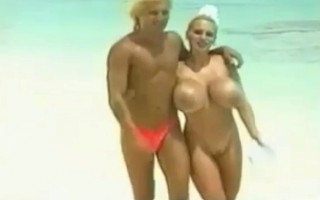 Sex for Giant Tits Babe on Beach BVR