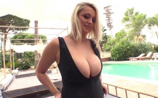 Busty Brit Emma Rachael Black Plunge Zipper