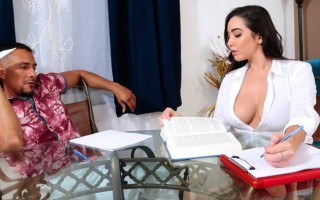 Topless tutor Karlee Grey deals with distracted student