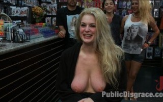 Hot blond Danielle Delaunay fucked in porn store.