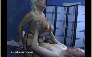 Claudia-Marie rides cowgirl style on a member of her site's hard cock