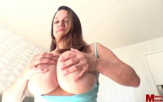 Monica Mendez in Bed Playing Around With Her Big Yummy Tits