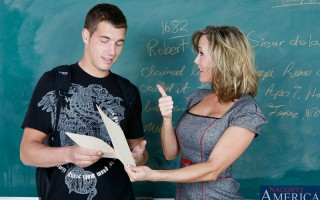 Professor Brandi Love is excited because her student aced his latest exam. She'd been tutoring him for some time, but the young man doesn't appreciate her help. So the professor demands a little credit ... then a little extra credit, splashed across her f